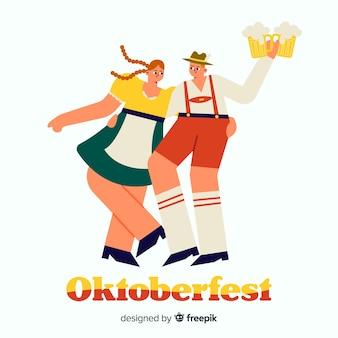 Pessoas dos desenhos animados, celebrando a oktoberfest