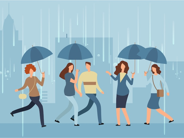 Pessoas dos desenhos animados com guarda-chuva andando pela rua em dia de chuva