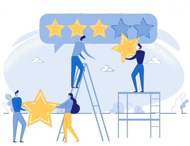 Pessoas dos desenhos animados, dando classificação positiva de cinco estrelas