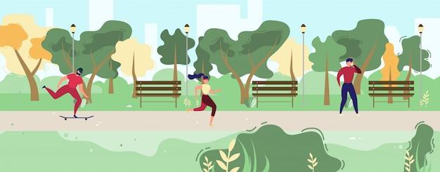 Pessoas dos desenhos animados, descansando na ilustração do parque da cidade