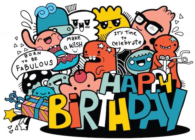 Pessoas dos desenhos animados e feliz aniversário