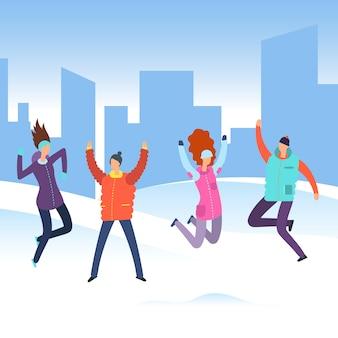 Pessoas dos desenhos animados em roupas de inverno na paisagem da cidade