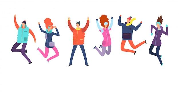 Pessoas dos desenhos animados em roupas de inverno pulando.
