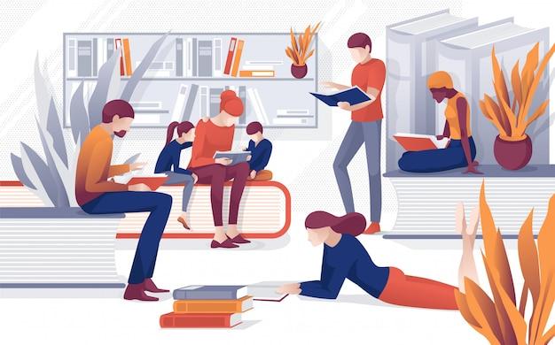 Pessoas dos desenhos animados ler livros família lendo livraria