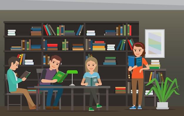 Pessoas dos desenhos animados ler livros na biblioteca. sala da biblioteca
