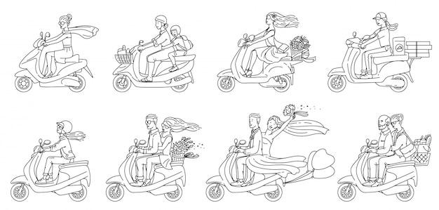 Pessoas dos desenhos animados, montando scooters - plano conjunto incolor de casais e outros