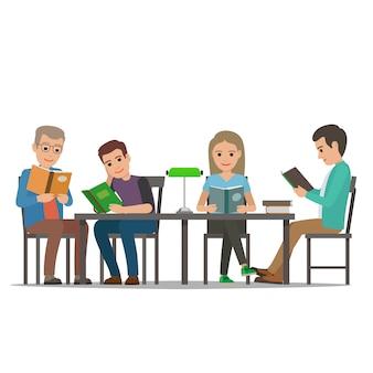 Pessoas dos desenhos animados na mesa ler livros.