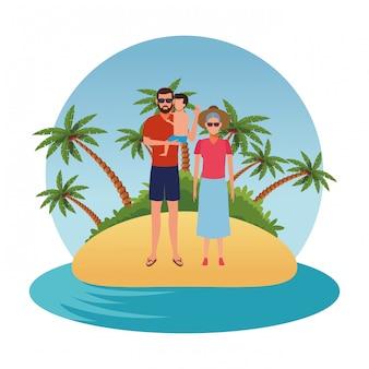 Pessoas dos desenhos animados nas férias de verão