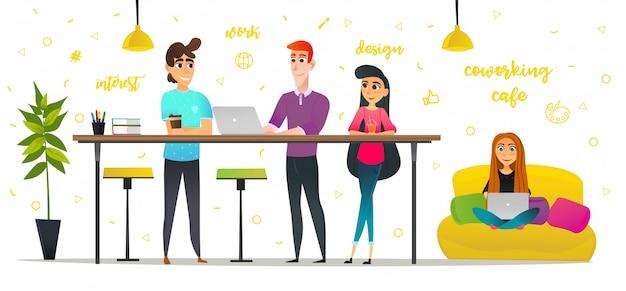 Pessoas dos desenhos animados no café de bebida coworking cafe