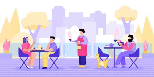 Pessoas dos desenhos animados no café de rua - área de estar ao ar livre do restaurante da cidade