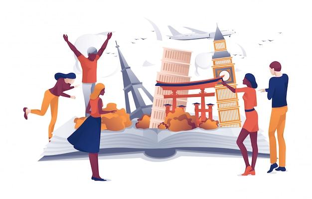 Pessoas dos desenhos animados perto de pontos turísticos famosos do livro aberto
