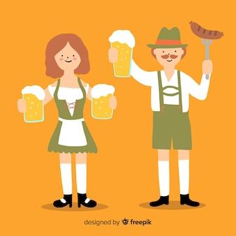 Pessoas dos desenhos animados segurando cervejas na oktoberfest