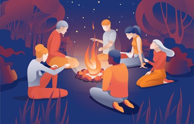 Pessoas dos desenhos animados sentar perto da fogueira na noite de verão