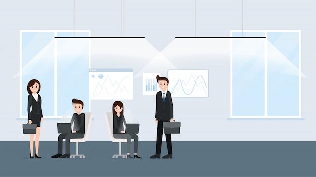 Pessoas dos desenhos animados, trabalhando juntos no escritório