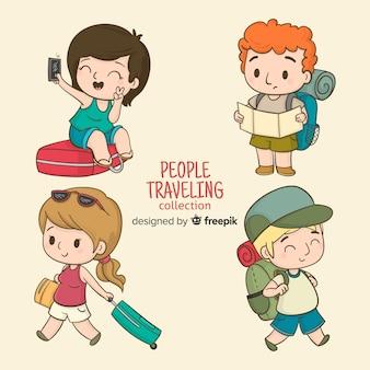 Pessoas dos desenhos animados viajando conjunto