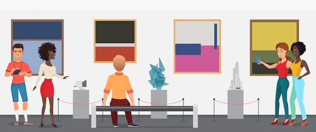 Pessoas dos visitantes do museu no museu da galeria de exposições de arte tirando fotos. ilustração.
