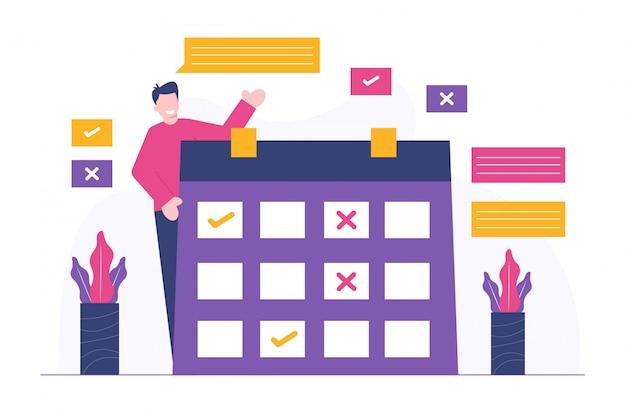 Pessoas e agendar ilustração plana