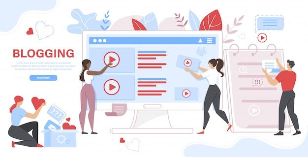 Pessoas e computador com postagens e vídeo na tela