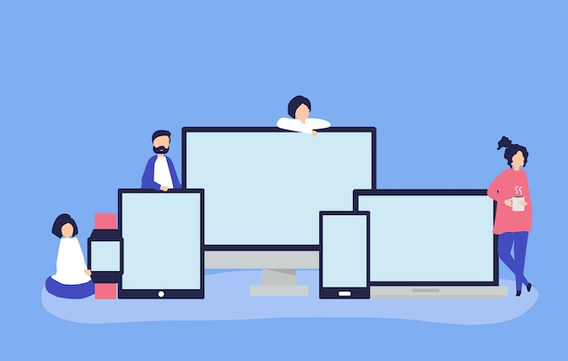Pessoas e dispositivos digitais com espaço de cópia