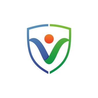 Pessoas e escudo vector logo