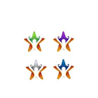 Pessoas e estrela de design de logotipo