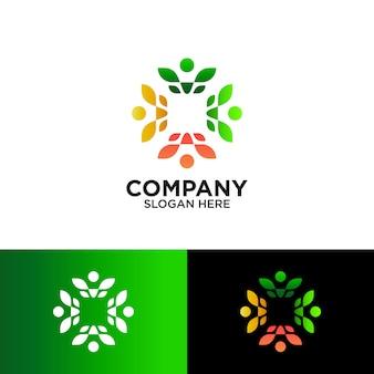 Pessoas e folha para design de logotipo comunitário de agricultura