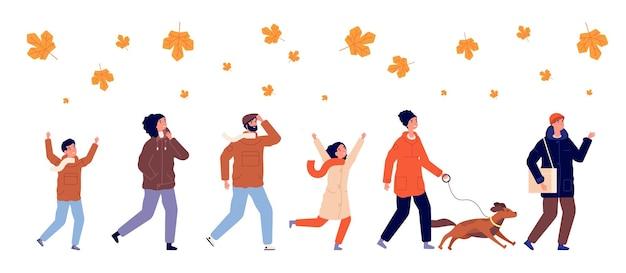 Pessoas e folhas de outono. folha colorida sazonal