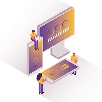 Pessoas e gráficos com design de ilustração vetorial de desktop e smartphones