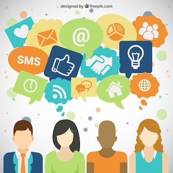 Pessoas e ícones de mídia social
