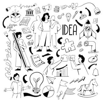 Pessoas e ícones para o site de inicialização