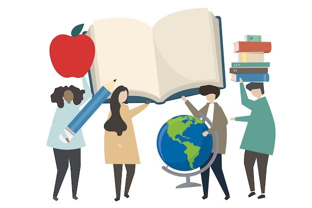 Pessoas e ilustração do conceito de educação