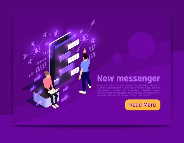 Pessoas e interfaces brilham banner isométrico com o novo título do messenger e leem mais ilustração vetorial de botão