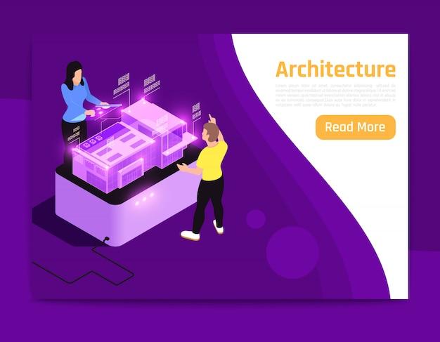 Pessoas e interfaces brilham na descrição de arquitetura de banner de composição isométrica com duas pessoas na ilustração vetorial de trabalho