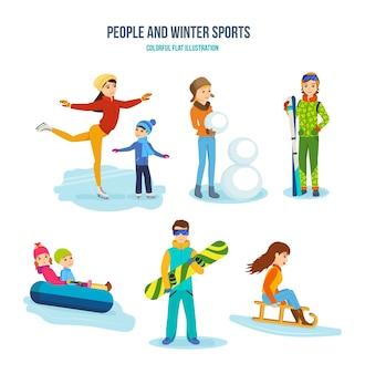 Pessoas e inverno e conjunto de esportes ativos.