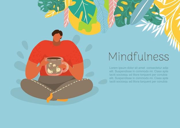 Pessoas e jardim, conceito, inscrição em mindfulness, saúde humana, natureza de meditação de ioga, ilustração. meditar ao ar livre, exercícios silenciosos, relaxamento saudável, vida.