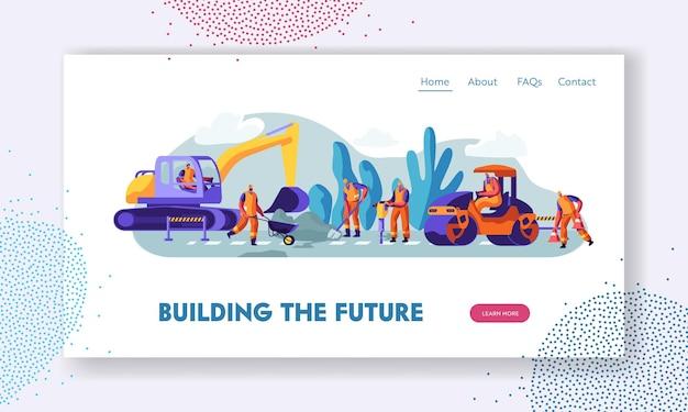 Pessoas e máquinas no conceito de trabalho de reparação de estradas. modelo de página de destino do site