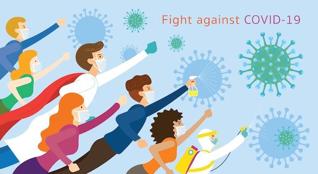Pessoas e médicos são super-heróis contra a qual lutar, doença do coronavírus