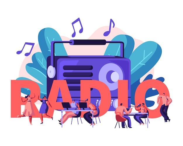Pessoas e o conceito de rádio. ilustração plana dos desenhos animados