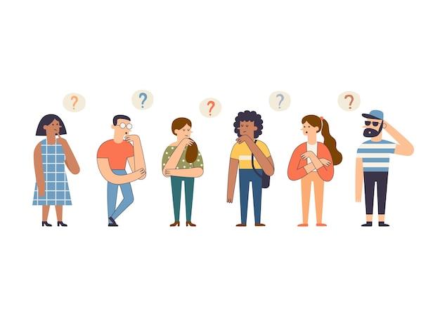 Pessoas e personagens atenciosos com balões de pensamento.