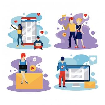 Pessoas e redes sociais e rede