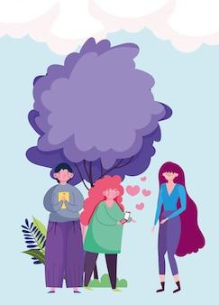 Pessoas e smartphone, casal usando móveis e mulher em pé ao ar livre dos desenhos animados