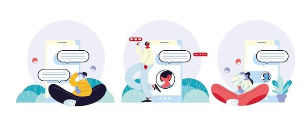 Pessoas e smartphones conversando, bolha de bate-papo