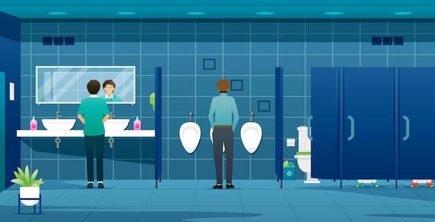 Pessoas e trabalhadores usando banheiros públicos masculinos