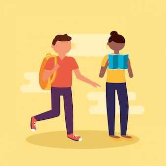 Pessoas e viajar em estilo simples