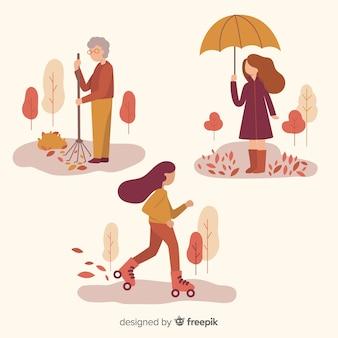 Pessoas, em, a, outono, parque