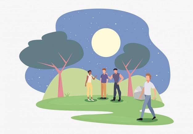 Pessoas, em, a, parque, noturna, cena