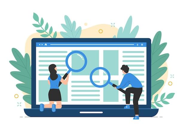 Pessoas em busca de informações. conceito de pesquisa na web