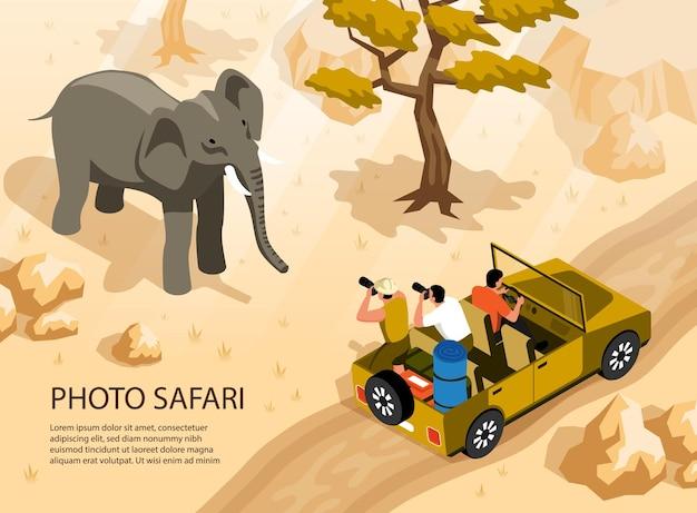 Pessoas em carro de safári tirando foto de elefante 3d isométrico