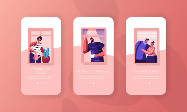 Pessoas em casa conjunto de tela a bordo da página do aplicativo móvel.