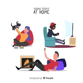 Pessoas em casa